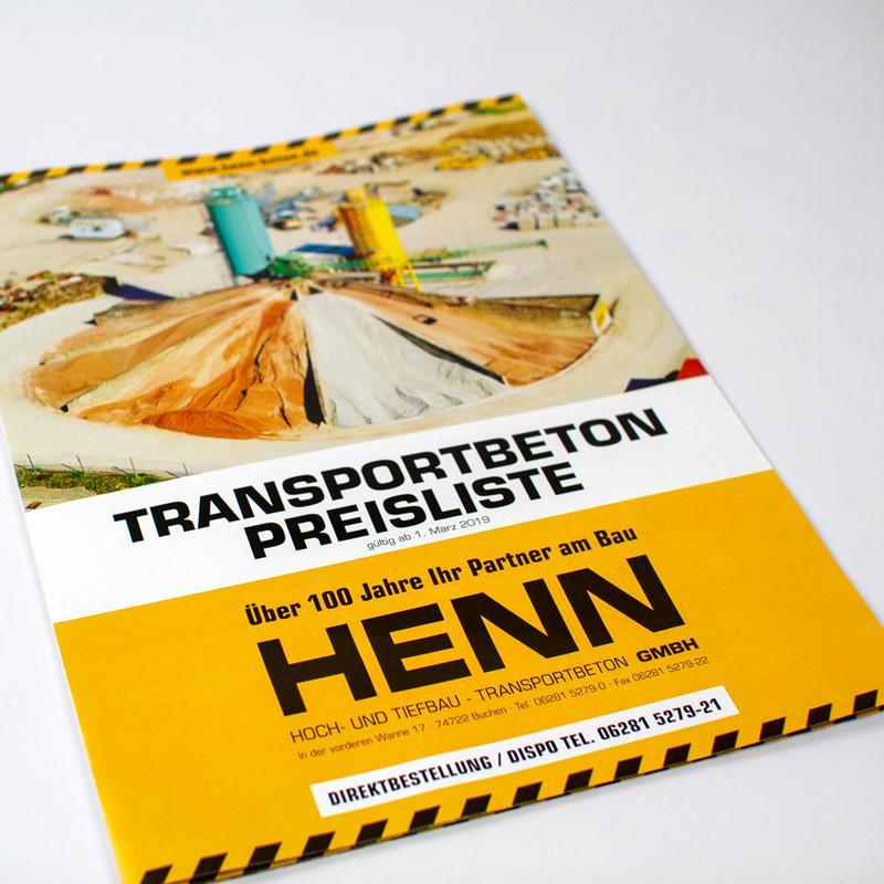 Betonpreisliste für die Henn GmbH