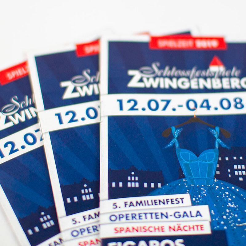 Flyer für die Schlossfestspiele Zwingenberg
