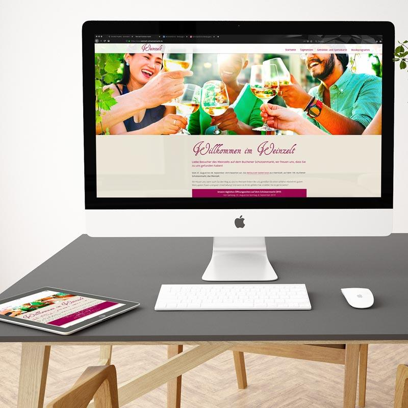 Webseite und Speisekarte für das Weinzelt