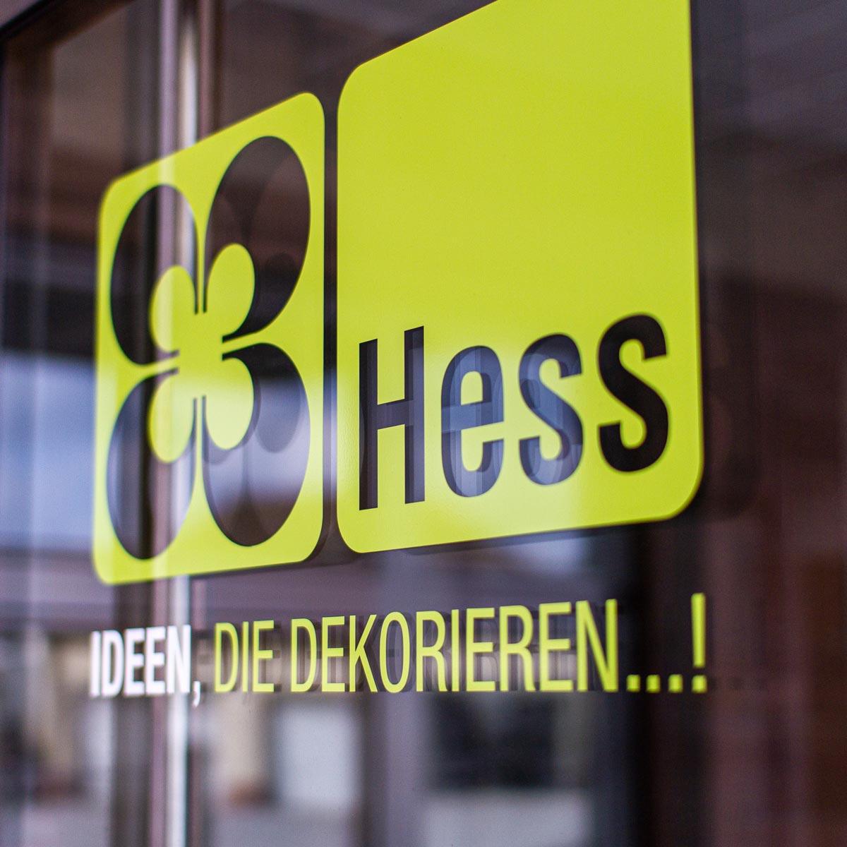 Außenbeschriftung für die Wilhelm Hess GmbH & Co. KG